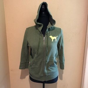 Olive Green Zip Up Victoria's Secret Sweatshirt